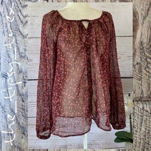 Old Navy Wine Floral Blouse XL